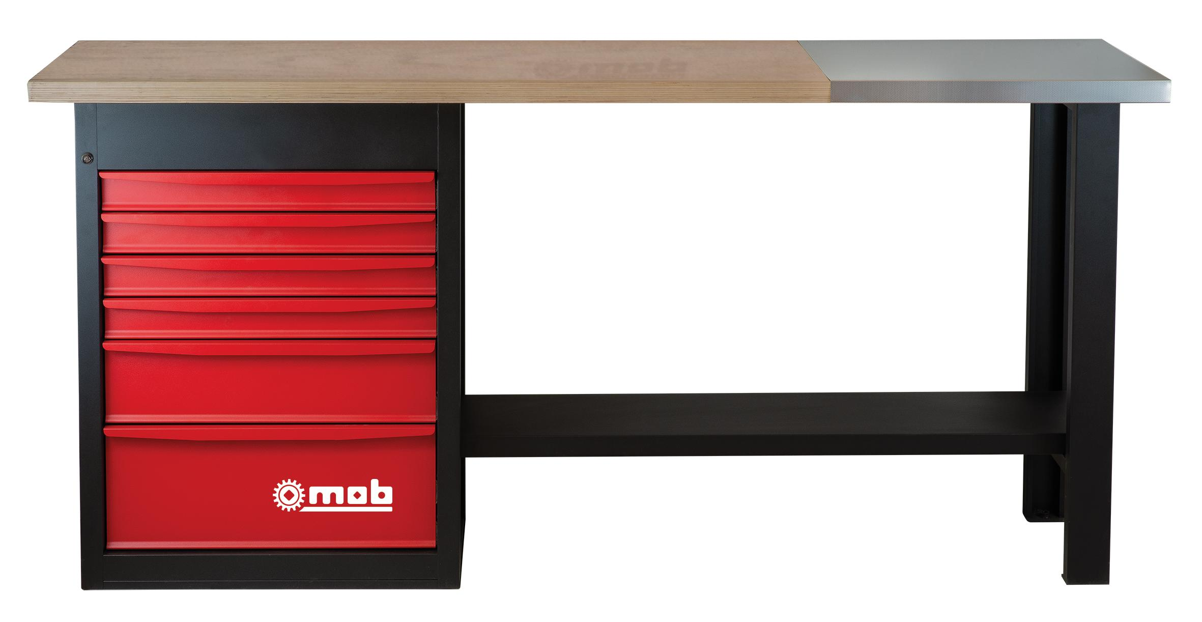 WORKBENCH 6 DRAWERS WITH STAINLESS STEEL SHEET | e-catalog MOB
